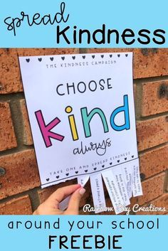 Spread a little more kindness in your classroom, school or community with this freebie. Teach your students that kindness can be simple and fun. This is a kindness challenge for kids that everyone can take part in. Each poster has a kindness quote and a list of tear away random acts of kindness. Click to get your free printable and start watching kindness spread! #rainbowskycreations