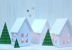 Nordic Houses |electric tea light holders | PDF pattern | Christmas Craft