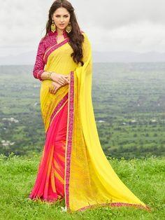 Tanjore Yellow & Pink Printed Georgette Saree #Saree #Yellow #Pink