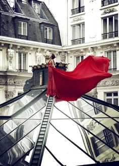 Fashion shoot on the rooftops of Paris