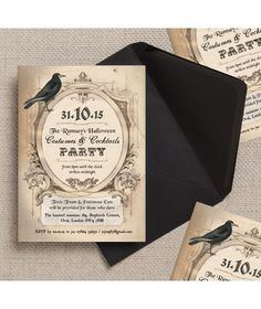 Spooky, gothic, vintage style Halloween invitations / invites / stationery / cards. Can be used for a wedding, party, birthday, disco, dinner party or any occasion. Customise / Personalise online with your own wording. Instant DIY printable PDF version available. by HipHipHooray.com