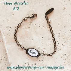 Hope Bracelet Plunder Design. Vintage Jewelry. Savvy Prices. www.plunderdesign.com/simplycolie Join me on Facebook- https://www.facebook.com/SimplyColie-Jewelry-Stylist-188548031659112 www.pinterest.com/coliejewelry