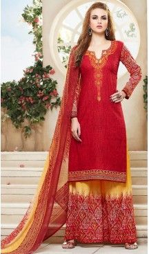 Red Color Simple Cotton Stitched Palazzo Dresses with Dupatta | FH456871471 #casual, #salwar, #kameez, #online, #trendy, #shopping, #latest, #collections, #summer,#shalwar, #hot, #season, #suits, #cheap, #indian, #womens, #dress, #design, #fashion, #boutique, #heenastyle, #clothing, #cotton, #printed, #materials, @heenastyle