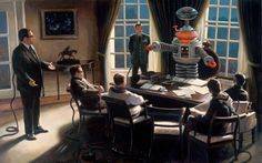 """A surreal painting by Vincent Cacciotti depicting the """"B9 robot' from the 1960's TV series, Lost in Space.  It shows him in the apparent role, as president of the United States.  There is a conference in progress with several men."""