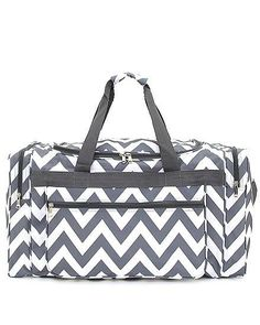 1d48d95b3507 CHEVRON DUFFLE BAG GYM BAG DANCE BAG SHOPPING BAG GRAY 22 66