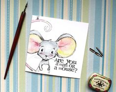 Man or mouse card Man up Card Funny Card by BEEautifulcreatures