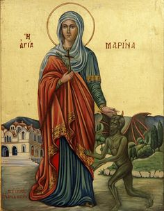 Marina of Thissio, Orthodox Church Byzantine Icons, Byzantine Art, Ste Marguerite, St Margaret, Orthodox Christianity, Orthodox Icons, Medieval Art, Religious Art, Religious Paintings