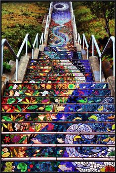 Tiled steps project - Golden Gate Steps - A staircase designed by local artists and put together by more than 300 people from the neighborhood, these mosaic steps (right by Grand View Park) took two years (and lots of hallucinogens) to decorate Mosaic Stairs, Places To Travel, Places To Visit, Travel Destinations, Tile Steps, Art Du Monde, Stairway To Heaven, Mosaic Art, Architecture