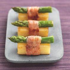 Recette Facile - Mise en bouche : Princesse Amandine en sushi d'asperge au lard