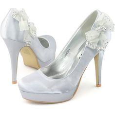 Shoezy Ladies Satin Wedding Dress Ankle Bow Diamantes Platform Heels... ($45) ❤ liked on Polyvore featuring shoes, pumps, heels, bow pumps, heel pump, satin bow shoes, bow heel shoes and diamante shoes