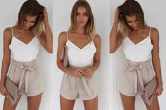 instead of (from Verso Fashion) for a white and beige front-tie summer playsuit - save a stylish Holiday Outfits, Holiday Clothes, London, Playsuit, Short Dresses, Rompers, Beige, Shorts, Elegant