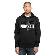 NEW NWT NFL Oakland Raiders Men's '47 Headline Pullover Hoodie Large Jet Black
