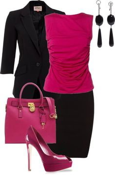 I love this shade of pink. It is my favorite color. I really like the cut of this blouse with the fitted jacket and skirt. I love the pink handbag too, of course! I do not like the platform shoes and super high heels though.