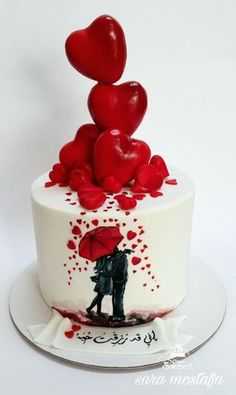 Single Layer Cake Decorating Ideas Unique Anniversary Cake by Sara Mostafa Gorgeous Cakes, Pretty Cakes, Cute Cakes, Amazing Cakes, Fondant Cakes, Cupcake Cakes, Cake Decorating For Beginners, Decorating Ideas, Hand Painted Cakes
