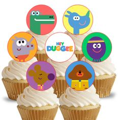 14x EDIBLE Hey Duggee Cupcake Toppers birthday party 4cm wafer paper uncut