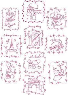 French Theme France Blocks Redwork Linework by CarolinaStitchin, $4.25