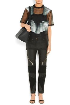 Givenchy - Printed T-shirt In Black Silk-organza - FR36