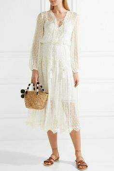 €916 ZIMMERMANN  Oleander lace-trimmed Swiss-dot silk-georgette midi dress  €916