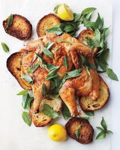 Spatchcocked Chicken on Bread With Herbs and Lemon Recipe