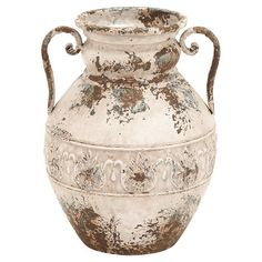 Add artful appeal to your entryway or home library with this amphora-inspired iron vase, showcasing a distressed finish and side handles.  ...
