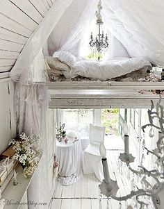 loft bed, chandeliers, white and wood. what's not to love!? #chandelier #white