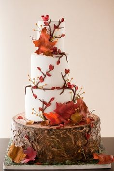 fall wedding cakes, fall leaves, autumn leaves, fall cakes, rustic weddings, autumn weddings, fall weddings, tree trunk, rustic wedding cakes