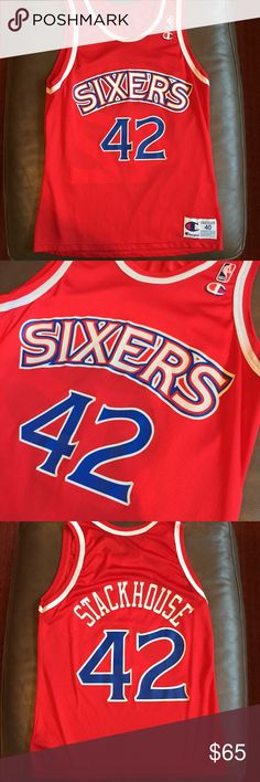 Vintage Jerry Stackhouse Champion Jersey 40 USA Very clean Away Jerry Stackhouse Sixers Champion Jersey. Rare size 40. Not a made in Mexico retro jersey, this is a true vintage Made in USA Champion Jersey. No holes or stains. No peeling or splitting of the graphic. Champion Other