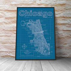 Explore Chicago and all it has to offer from bustling shopping to cultural spots with a Chicago Blueprint, featuring the best of the Windy City. Whether youre a Chicago native out to show some hometown pride or a Bears or Bulls fan, a Chicago Blueprint will enliven your home or office.  Modern graphic design and traditional blueprint style come together to create these original artwork maps. Highlights include streets, highways, water features and points of interest unique to each city. Hand…