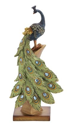 Amazon.com - Deco 79 Poly-Stone Peacock, 6 by 13-Inch -