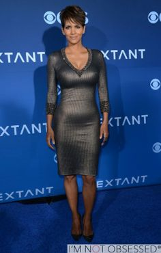 Halle Berry In Metallic Gray/Silver dress at CBS Films 'Extant' Los Angeles Premiere