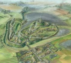 This is a reconstruction drawing of Skipsea castle. It is a well-preserved motte and bailey castle. It was built at some time between 1071 and It is located south of Bridlington, East Riding of Yorkshire, En Fantasy City Map, Fantasy Castle, Fantasy Places, Medieval Life, Medieval Castle, Medieval Fantasy, Fantasy Landscape, Landscape Art, Motte And Bailey Castle