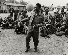 Pele shows of his ball skills on the set of Escape to Victory.