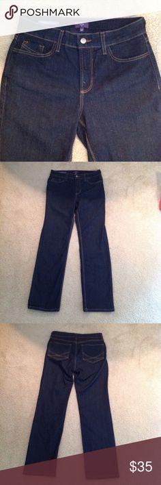 "NYDJ 10P Marilyn/ straight, Lift-Tuck, stretch, dark wash , like new 30"" inseam, bottom leg width is 7 1/2"" so these almost fit like skinny jeans NYDJ Jeans Straight Leg"