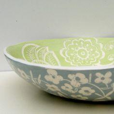 Ceramic Pasta Bowl Blue Blossoms Made to Order by CeramicaBotanica, $150.00