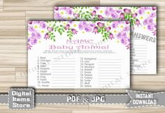 Printable Baby Animal Name Game Floral - Baby Animal Name Game With Purple Flowers for Baby Shower Girl - Instant Download - fg1 by DigitalitemsShop on Etsy