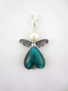 Heart angel pendant in glass angel charm heart by AlexandraInn