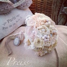 Shabby chic/vintage/fabric/bride wedding bouquet  - Ready to ship.     This shabby chic fabric bridal bouquet is in white cream, beige and light pi...
