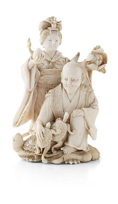 JAPANESE IVORY OKIMONO FIGURE GROUP MEIJI PERIOD depicting a man accompanied by a woman holding a peach and a lotus blossom, the man kneeling on the back of a minogame with two smaller tortoises clambering into his lap, unsigned. 10cm high  Notes: Provenance: The Symington Grieve Collection of Japanese Works of Art