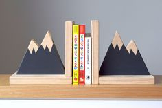 Mountain Peak Bookends, Woodland Nursery Decor, Modern Bookends, Bookends for Kids, Mountain Peak Decor, Book Decor, Kid Decor,Scandi Style by hachiandtegs on Etsy https://www.etsy.com/listing/488940588/mountain-peak-bookends-woodland-nursery