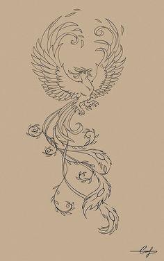 Phoenix Tattoo Feminine, Phoenix Bird Tattoos, Phoenix Tattoo Design, Sun Tattoos, Small Tattoos, Phoenix Drawing, Tattoo Coloring Book, Vogel Tattoo, Hummingbird Art
