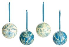 One Kings Lane - Holiday Blowout - S/4 Ball Ornaments, Blue