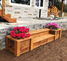 gorgeous 34 Rustic Outdoor Wooden Planters Design Ideas On Your Budget White Planters, Wooden Planters, Outdoor Planters, Diy Planters, Outdoor Benches, Wooden Garden, Outdoor Spaces, Deck Steps, Wood Steps