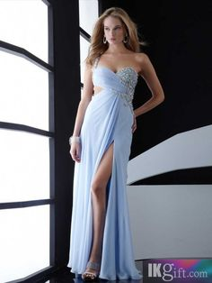 Sexy Sheath Column One-Shoulder Beading Sleeveless Floor-length Chiffon Dresses Dress Prom, Homecoming Dresses, Dress Long, Bridesmaid Dresses, Slit Dress, Prom Gowns, Dress Wedding, Prom Dresses Blue, Strapless Dress Formal