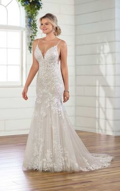 Glistening Wedding Gown with Sheer Bodice - Essense of Australia