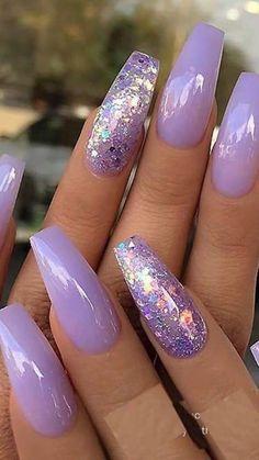 Sparkle Nails, Glam Nails, Hot Nails, Fancy Nails, Fancy Nail Art, Purple Acrylic Nails, Best Acrylic Nails, Purple Nails With Glitter, Purple Wedding Nails