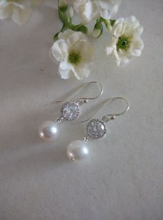 White Freshwater Pearl and Zirconia Dangle Earrings, Sterling Silver Ear Hooks. Bridal, Bridesmaids, Christmas, Valentines, Gift Ideas, Gift