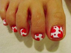 Image via Cute Red Toe Nail Art Designs, Ideas, Trends & Stickers 2015 Image via How to get rid of foot nail fungus (fast)? Toe Nail Fungi: You must realise that this nail is dead Cute Toe Nails, Toe Nail Art, Love Nails, My Nails, Fabulous Nails, Gorgeous Nails, Pretty Nails, Heart Nail Designs, Toe Nail Designs