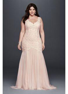 Beaded Trumpet Plus Size Wedding Dress 9SWG723