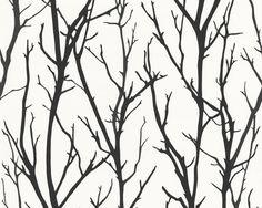 Schwarze Äste auf weißem Hintergrund, Schöner Wohnen 4 Kollektion, Tapete 268341 #black #and #white #schwarz #weiß #tapete #ascreation #living #interior #wald #äste #baum
