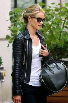 leather jacket + white tee + givenchy
